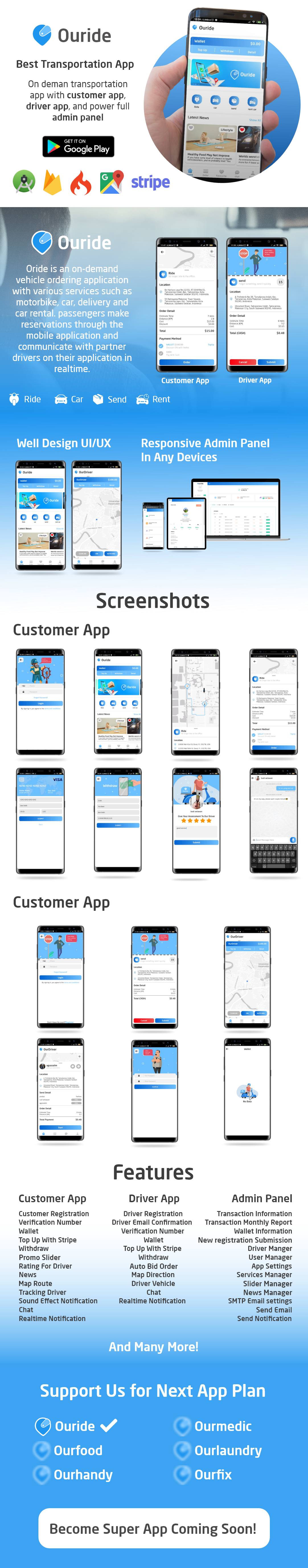 Ouride - Transportation App With Customer App, Driver App, and Admin Panel - 2